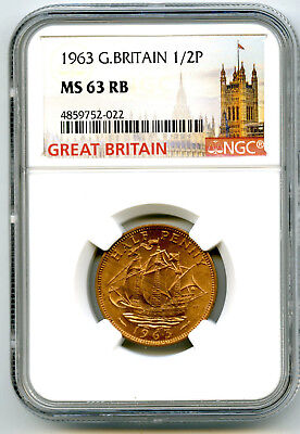 1963 Great Britain 1/2 P Half Penny Ngc Ms63 Rb Golden Hind Design Halfpenny