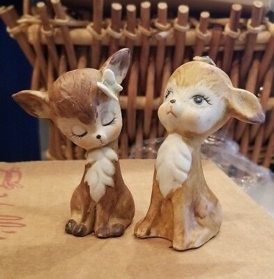 2 x Vintage Ceramic Fawn/ Doe/Deer Figurine With A Butterfly on Its Head