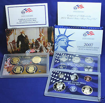 2007-s U.S. 14 coin Proof Set. Complete and Original in BLUE  mint paper box