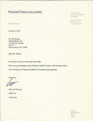 MARIO CUOMO, politician/author, AUTHENTIC HAND SIGNED TYPED LETTER
