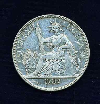 France French Indo-China (Vietnam)  1907-A  Piastre Silver Coin