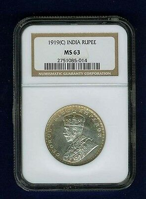 India British  George V 1919-(C) 1 Rupee Silver Coin, Certified Ngc Ms63