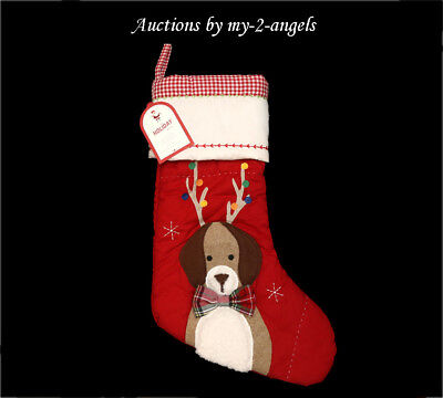 NWT Pottery Barn Kids DOG WITH ANTLERS Christmas Quilted Stocking NO MONOGRAM