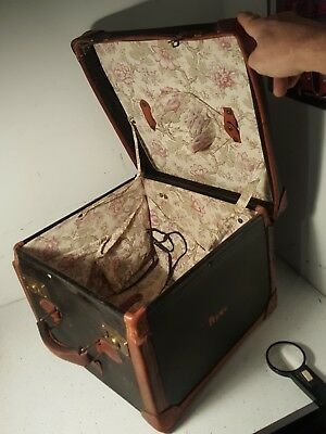 Antique Black Leather binding Square Ladies Hat Box Luggage Suitcase Vintage