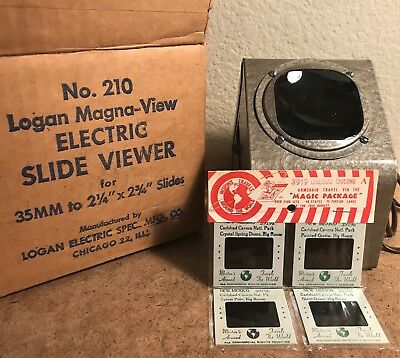 Vintage Mid Century Desk Top Slide Viewer LOGAN ELECTRIC No.210 Magna View Works