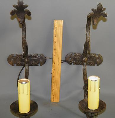 Antique Wrought Iron Hand Forged Spanish Revival- Gothic- Rustic Pair Of Sconces