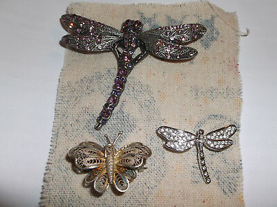 Mixed Lot Of Three Brooches, Dragonflies, Butterfly, Various Wear, All Wearable