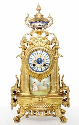 Antique French Ormolu Mantel Clock By Mougin, Sevres Porcelain Figures & Flowers