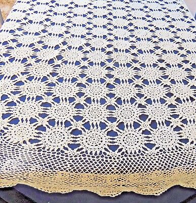 Vintage Cotton Crochet Lace Tablecloth 68 Round