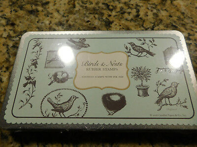 Cavallini Birds & Nests Assorted Rubber Stamps with Ink Pad • NIP