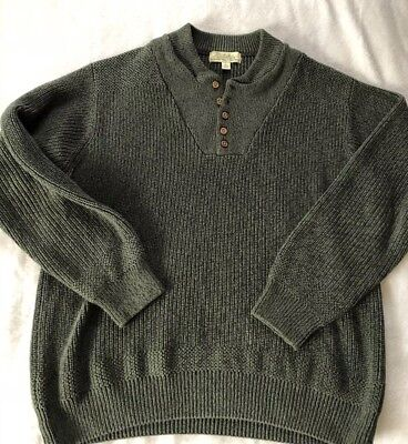 4ff7308b737c2 MENS GREEN CABELAS Thick Knit 1/3 Button Sweater Large Reg Nice Nice ...