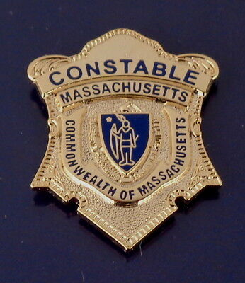CONSTABLE Commonwealth of Massachusetts Gold mini badge Lapel Pin MA police