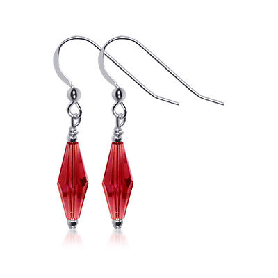 8d575db83 925 Silver Rhombus Shape Red Crystal Drop Earrings Made with Swarovski  Elements