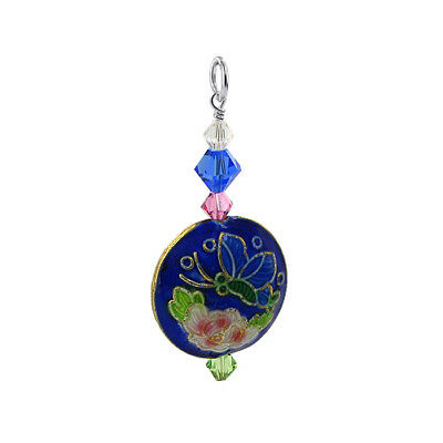 Silver Blue Bead 38 x 18mm Charm Pendant with Swarovski Elements Crystal