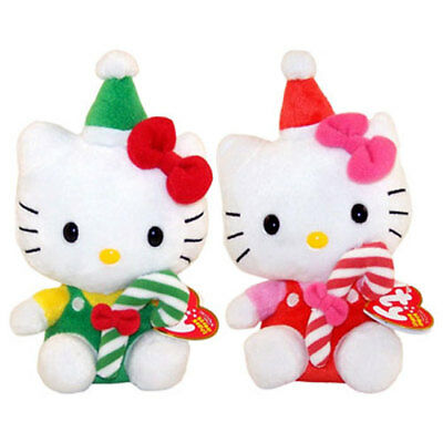 TY Beanie Babies - HELLO KITTY (Set of 2 - Red & Green Candy Canes) (7.5 inch) -