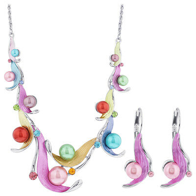 "Multicolor Petal Rhinestone Silver Tone Fashion Earrings 18"" Rope Chain Necklace"