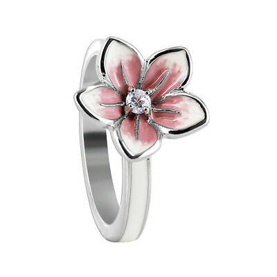 Sterling Silver White and Pink Enamel Flower with CZ 3mm Ring Size 6