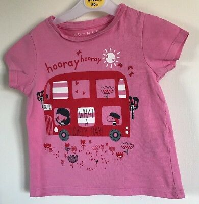 Nutmeg Girls Pink Patterned T Shirt. Age 2-3 Years