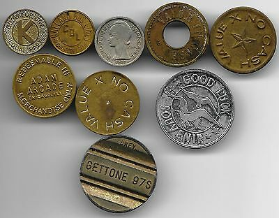 World lot of 9 Jetons tokens coins