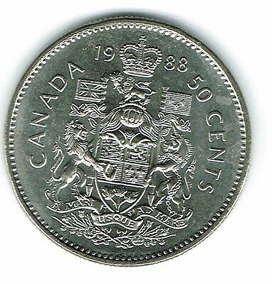 1988 Canadian Brilliant Uncirculated Fifty Cent coin!