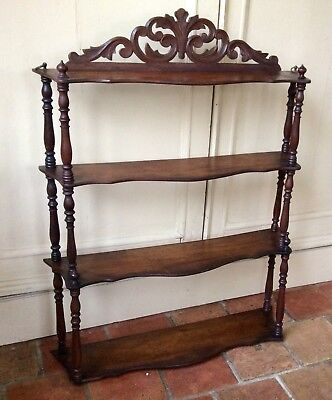 Antique 19th Century French Mahogany Serpentine Fronted Four Tier Shelf/Etagere.