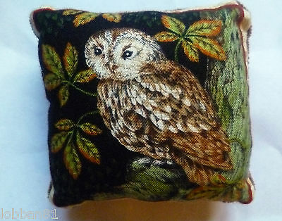Pin Cushion Owl Cotton & Brown Velvet Reverse Well Padded in Organza Gift Bag