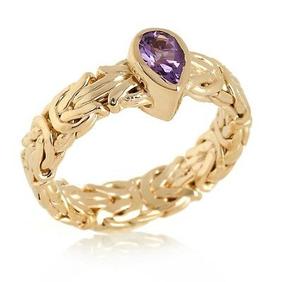 Technibond Pear Amethyst Byzantine Band Ring 14K Yellow Gold Clad Silver HSN