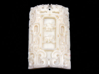 Solid Bone Highly Detailed Hand Carved Pendant Buddhism Blessings #12021806