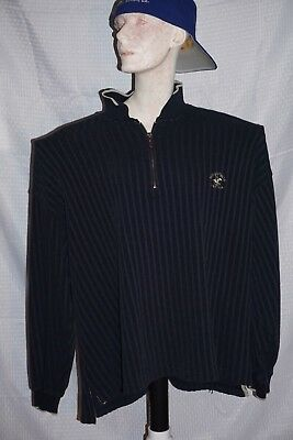 VTG Beverly Hills Polo Club Pullover Sweater Mens S 2XL 1/4 Zip Navy Blue XXL
