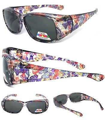 c0db7a72939 FIT OVER Women Polarized Sunglasses Cover Rx Glasses Rhinestone Purple  Butterfly