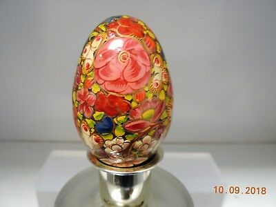 """Vintage Decoupage Decorative Wooden Egg - Colorful All Flowers - 2 1/2"""" Tall"""