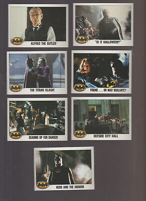 Lot of 7 Batman movie trading cards 1989