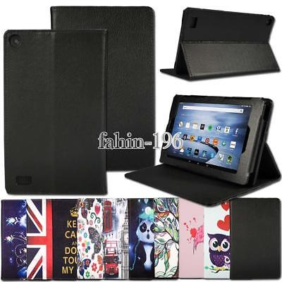 "Leather Stand Case Cover for Amazon Fire 7"" 2015 (5th GEN) Alexa 2017 (7th GEN)"