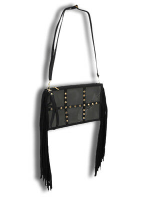 Zeckos Spiked Clear Vinyl Clutch Purse with Black Mesh and Fringe