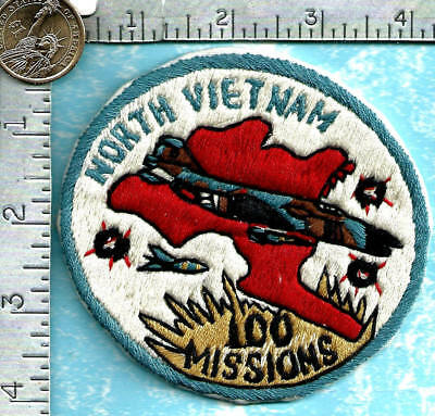 USAF Vietnam made war era patch - 555th Tactical Fighter Sq - 100 Missions