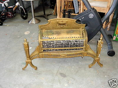 Antique Ornate Cast Iron Brass Finish Gas Parlor Space Heater Fireplace Insert