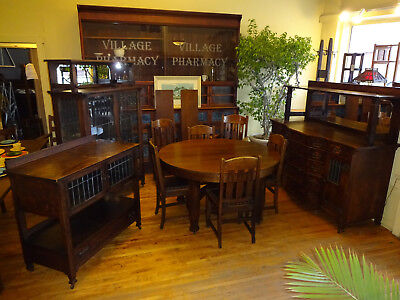 Mission Oak Dining Set Luce Co Buffet/Sideboard Server China Cabinet Table Chair