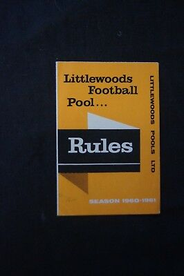 RARE VINTAGE LITTLEWOODS FOOTBALL POOLS Ltd Rules Season 1960 - 1961 Leaflet