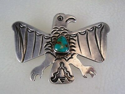 Old Navajo Stamped Sterling Silver & Turquoise Thunderbird Eagle Bird Pin