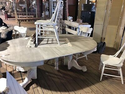 dining table set for 7. White, refinished antique style. 7 ft long with leaves