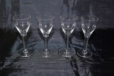 4 Antique 19th C Cordial Liqueur Glasses Hand Made Victorian Crystal Glass