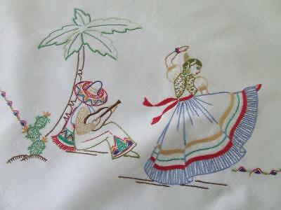 Superb Vintage Hand Embroidered Tablecloth with Mexican Theme - Crocheted Edging