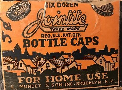 Vintage Cork Lined Metal Bottle Caps HomeUse Antique Original Box Jointite Crown