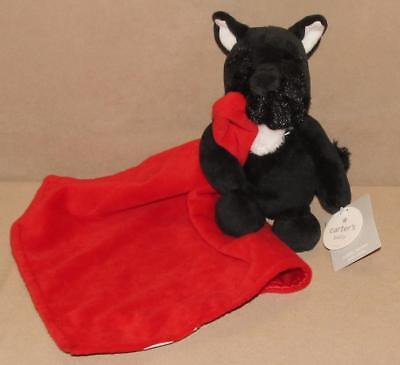 NWT Carters Plush Black Scottie Dog Rattle Holding Red Satin Security Blanket