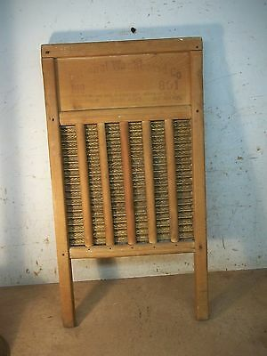 Old Wood Laundry Wash Board with Brass Scrub Panels