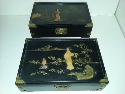 Antique PAIR Big FANCY WOODEN JEWELRY BOXES Old ASIAN ART Vintage CHINA Oriental
