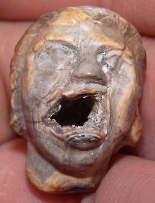 27mm Ancient Very Rare KING SOLOMON'S Agate Head, 3000+ Years Old, #MC16