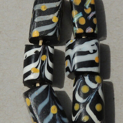 6 old antique venetian rectangular fancy feather beads african trade #11741