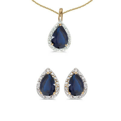 10k Yellow Gold Pear Sapphire And Diamond Earrings and Pendant Set