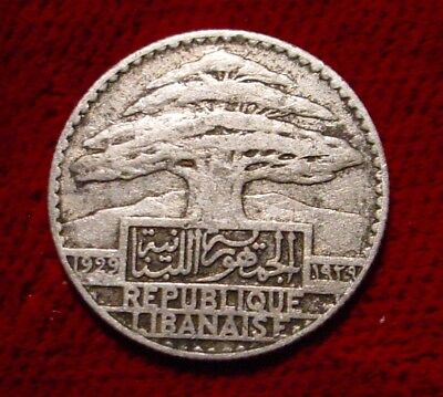 **scarce**1929 Silver 10 Piastres Lebanon**nice Detailed Coin**